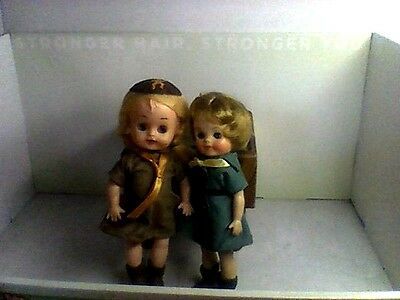 Lot Of Two Brownie, Girl Scout Dolls 8 In. U.s.a.
