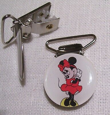 C08 - Clip Pince Bretelle, Crocodile, Attache Tétine - Souris Minnie Robe Rouge
