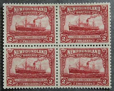 Newfoundland #146 Mint No Gum, Block Of 4 Steamship Caribou,1928 Pictorial Issue