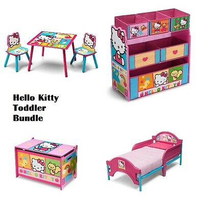 Hello Kitty Bundle Set Toddler Bed, Toy Chest Box, Toy Multi Bin Organizer