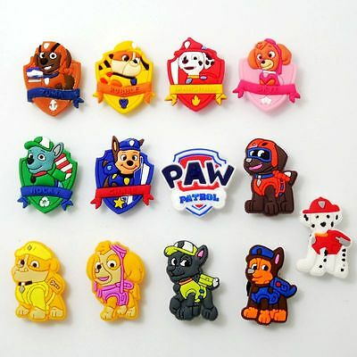 13pcs/set Kids Cartoon Police Paw Dogs Shoe Charms Fit Jibbit&Croc Wristbands