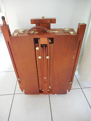 Artists Wooden Portable Folding Painting Easel Case With Paints