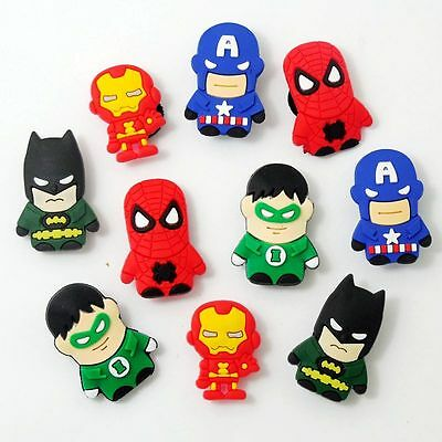 10pcs/set Kids Boys Gifts Cartoon Heroes Shoe Charms Fit Jibbitz Croc Wristbands