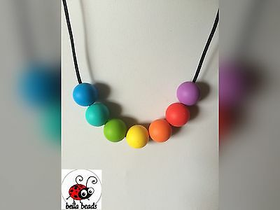 Silicone Sensory Baby (was teething) Necklace for Mum Jewellery Beads Aus Rainbo