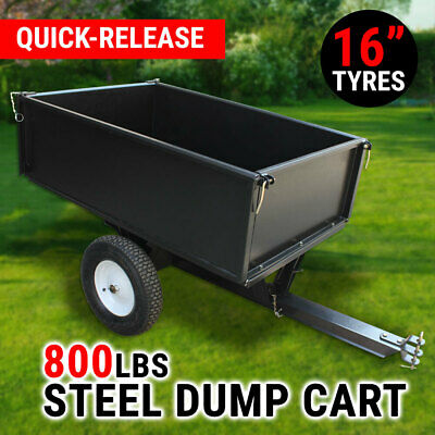 Steel Dump Cart 750 lb Garden Tipping Trailer ATV Ride Tow Behind Quad Tip