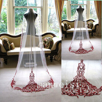 Chapel Custom Wedding Bridal Veils Formal Red Beads Veil 1 Tier With Free Comb