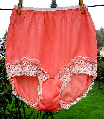 "True Vintage Halloween Orange Panties All Nylon Ecru Lace Leg Ruffles 3.5""Gusset"