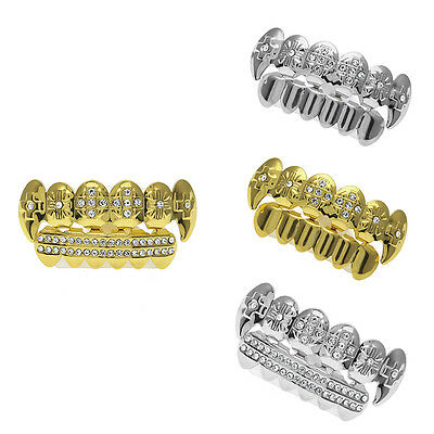 Fashion Fang Bling Grillz Top Bottom Teeth Vampire Hip Hop Mouth Grills Jewelry