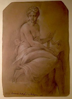 Old Master Drawing Bologna School Female Figure Chalk on laid paper
