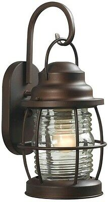 Traditional Colonial Harbor 1-Light Rugged Copper Outdoor Medium Wall Lantern