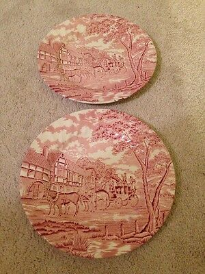 """Lot of 2 Dinner Plates 10"""" Royal Wessex Horse Carriage Pink Made in England"""