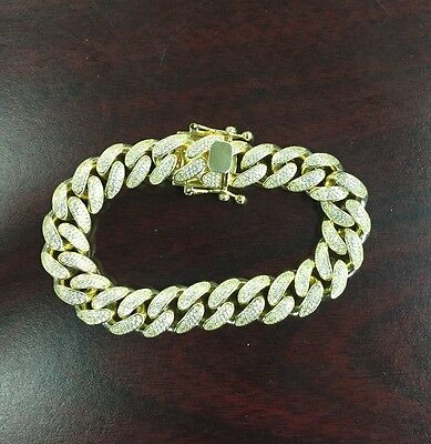 925 STERLING SILVER ICED OUT MIAMI CUBAN LINK YELLOW GOLD PLATED BRACELET 125g