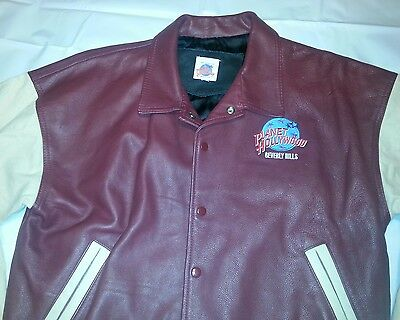 Vintage Planet Hollywood Beverly Hills Maroon Leather Letterman Jacket Sz Small