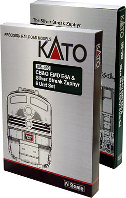 Kato - Silver Streak Zephyr Train-Only Set -- Chicago, Burlington & Quincy - N