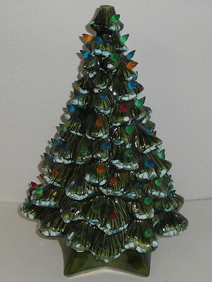 18'' LARGE VINTAGE CERAMIC CHRISTMAS TREE w/ STAND & BULBS Holland Mold 15''