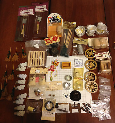 Lot 74 miniatures dollhouse farm country cans jugs tools axe saw brooms tubs awl