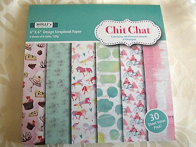 """Pack of 30 sheets of MOLLYS 6 inch x6 inch Scrapbook paper """"CHIT CHAT"""" designs"""