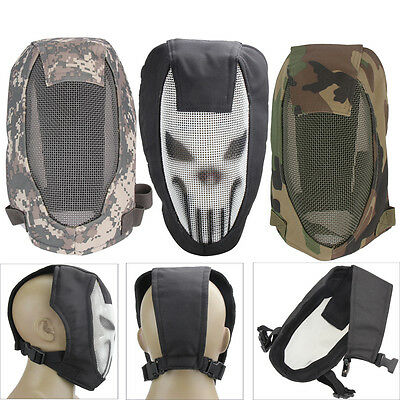 Breathable Mesh Skull Metal Mask Face Guard Gear For Paintball Airsoft CS Game