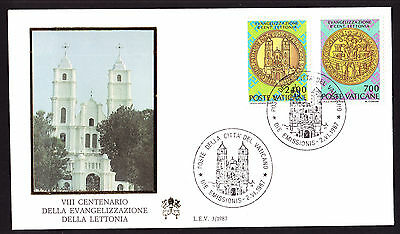 Vatican Latvia Conversion to Christianity set on First Day Cover FDC FDI 1987