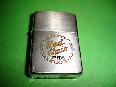 1958 Red Chain Feeds Pat 2517191 Zippo Lighter