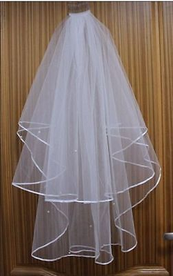 Stock Hot White/Ivory 2T Beading Edge Embroidered Bridal Wedding Veil With Comb