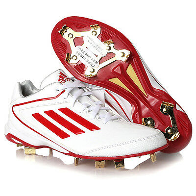 Adidas Men's adizero IC 4 Low Metal Baseball Cleats White/Red D73838