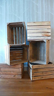 12 amazing solid vintage wooden apple crates boxes - ground and polished!