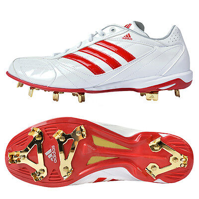 Adidas Men's adipure IC Low Metal Baseball Cleats White/Red G66879