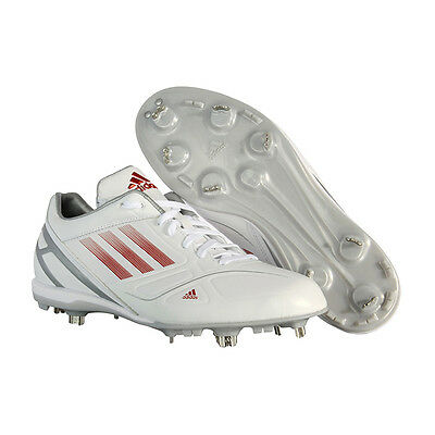 Adidas Men's adiZero Fixed 2 Low Metal Baseball Cleats White/Red G59361