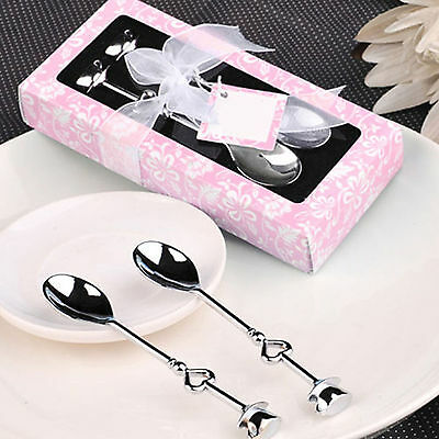 Best Pair Silver Stainless Steel Coffee Tea Spoons Heart Shaped Party Favor Gift