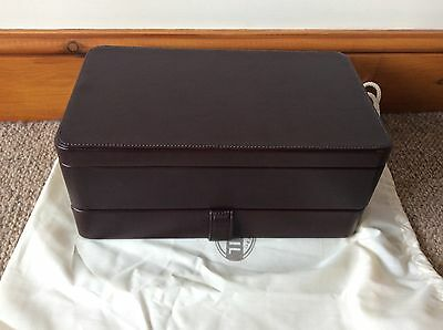 Dark Brown Leather Fossil Watch And Cufflinks Box Rrp £230