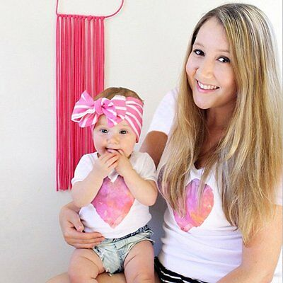 Women Mother & Daughter Summer Top Tee T-shirt Family Matching Clothes Blouse