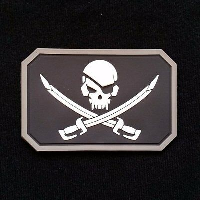 Pirate Skull Velcro Patch - White airsoft military milsim tactical morale badge