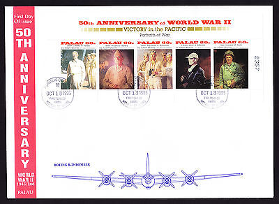 Palau 1995 50th Anniversary of end of WW2 WWII Portraits of War First Day Cover