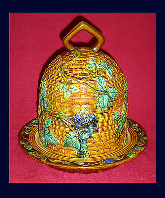 Huge Antique Victorian Minton Majolica Cheese Dome & Plate 1862-71.
