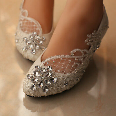 Lace white ivory crystal Wedding shoes Bridal flats low high heel pump size 3-10