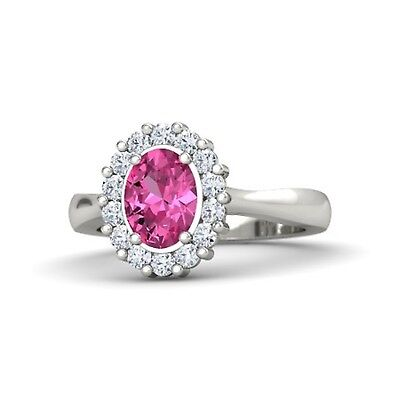 0.65 Ct Oval Cut Tourmaline And White Stone Studded 925 Sterling Silver Ring