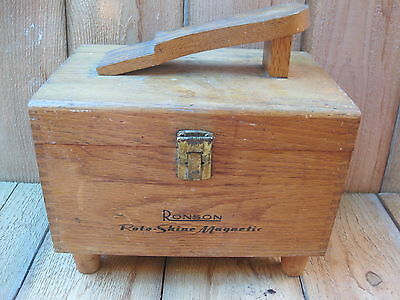 Vintage Ronson Roto Shine Box With Buffer, Applicator Pads & 2 Brushes