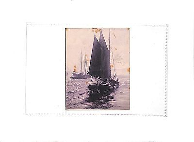 P703 1904 small postcard from Bognor to London Yacht Sailing Boat
