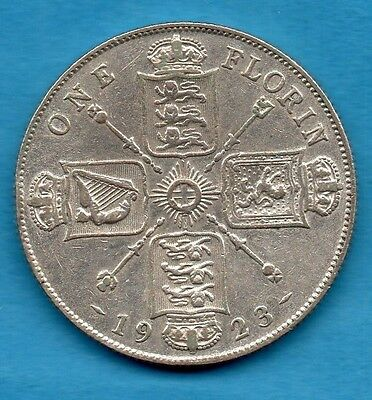 1923 Silver Florin Coin. King George V 2/-. Two Shillings.
