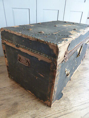 Antique wooden leather bound trunk