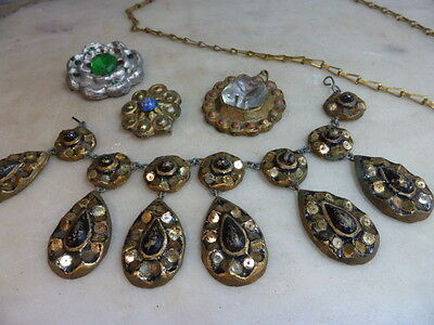 Vintage theatrical handmade faux medieval style jewellery props from play