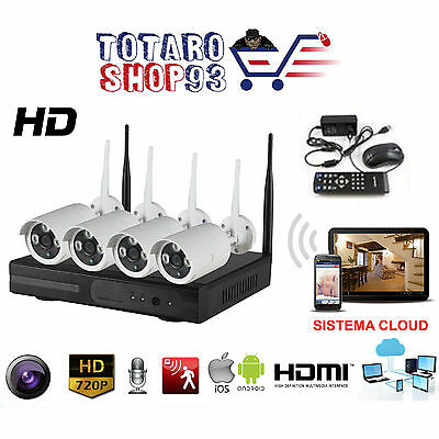 Kit Videosorveglianza 4 Telecamere Nvr Lan Remoto 3G Wireless Full Wifi Hd Ip4