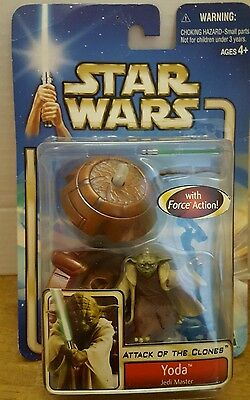 Star Wars Attack of the Clones 02-23 Yoda Jedi Master with Force Action