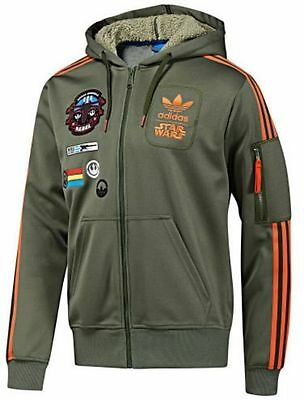 Star Wars Adidas  Rebel Xwing Military Green Hoody Hooded Track Top Jacket