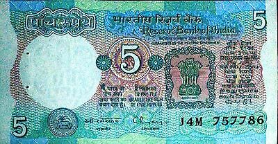 """INDIA """"Old Rupees 5 Banknote Currency HOLY No. 786 Bill UNCIRCULATED""""#223"""
