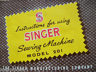Instruction Manual For Singer 201 in PDF Format Will Send Worldwide via Email