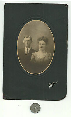 c1900 Cleburne TX,Young Married Couple,Wife in Specs,Davis photographer