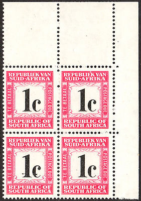 South Africa Postage Due 1961-9 1c Spur on '1' VARIETY SG.D51, UM block of 4