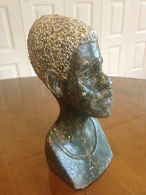 Beautiful Shona Green Stone Art Carved African Bust Man Sculpture Signed